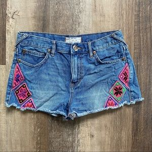 Free People Patchwork Cut Off Jean Shorts